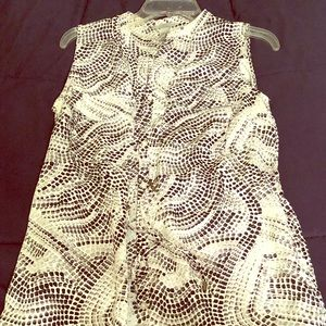White and black dress with waist adjuster
